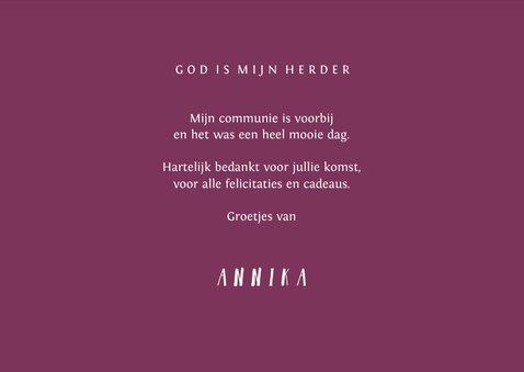 Bedankkaartje communie foto & kruis verfspetters roze 3