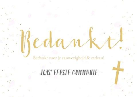 Bedankkaartje communie horend bij fotocollage uitnodiging 3