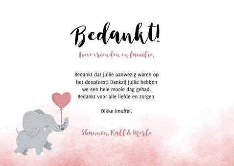 Bedankkaartje doopfeest meisje olifantje met ballon 3