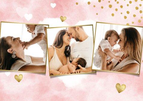 Bedankkaartje doopfeest waterverf, gouden hartjes en foto's 2