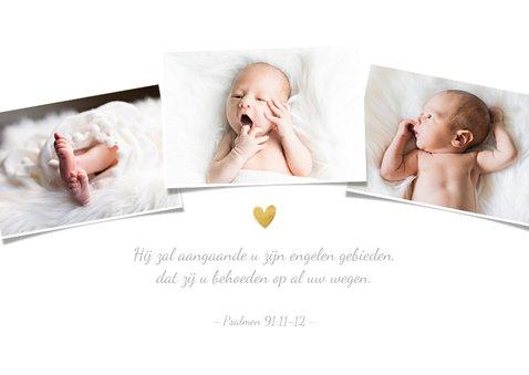 Bedankkaartje doopsel fotocollage goudspetters 2