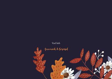 Bedankkaartje huwelijk herfstbladeren 3