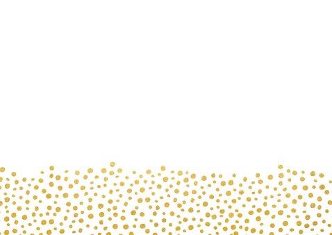 Bedankkaartje huwelijk wit met gouden stippen Achterkant