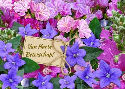 Bloemenkaart in de kleuren blauw en roze 3