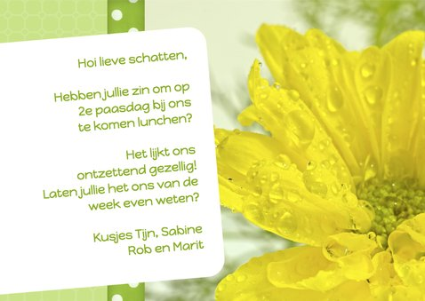 Bloemenkaart pasen geel 3