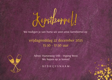 Bordeaux kleurige uitnodiging voor zakelijke kerstborrel 3