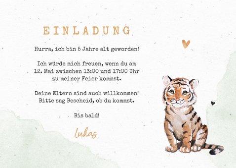 Botanische Einladung Kindergeburtstag mit Foto und Tiger 3