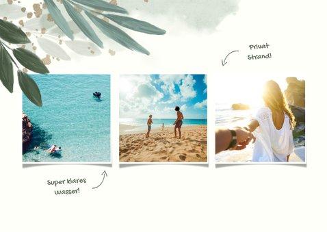 Botanische Urlaubskarte mit 3 Fotos und Wasserfarbe 2