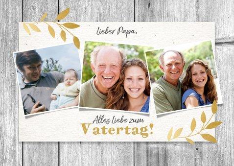 Botanische Vatertagskarte Fotocollage im Holzlook 2