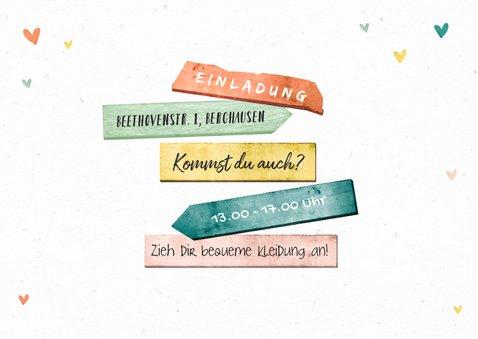 Bunte Einladung Kindergeburtstag Foto & Schild 2