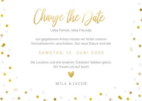 Change-the-Date-Karte Fotokarte mit Goldschrift 3