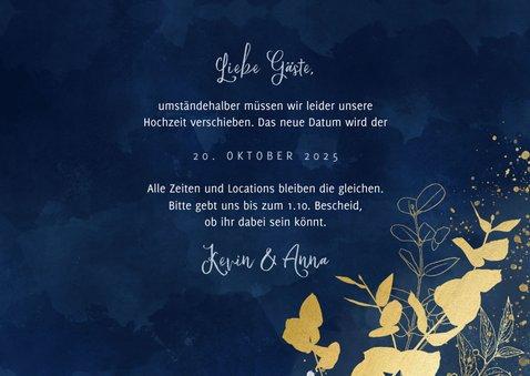 Change-the-Date-Karte Hochzeit Eukalyptus Goldlook 3