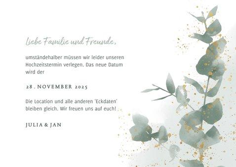 Change-the-date-Karte zur Hochzeit Eukalyptus 3