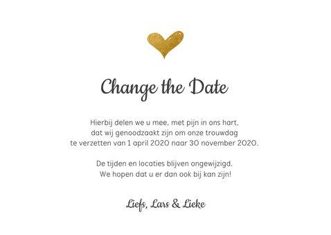 Change the datekaart met gouden hartje en confetti 3