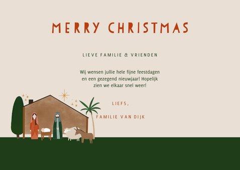 Christelijke kerstkaart kerststal en dieren merry christmas 3