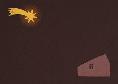 Christelijke kerstkaart kerststal met ster Achterkant