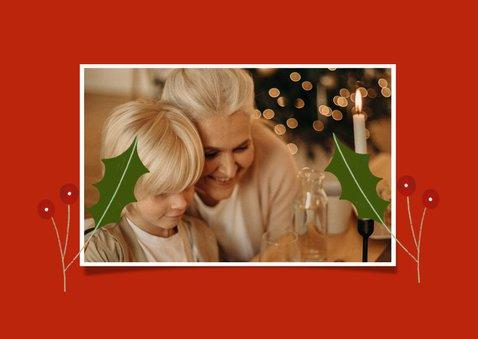 Christelijke kerstkaart met foto en engel illustraties 2