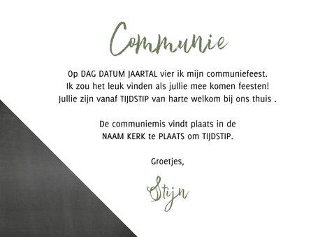 Communie foto uitnodiging krijtbord en stoere print 3