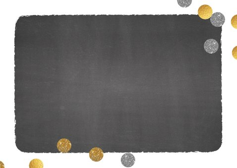 Communie foto uitnodiging stoer krijtbord en confetti 2