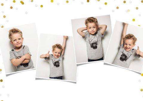 Communie fotocollage kaart jongen met goudlook confetti 2