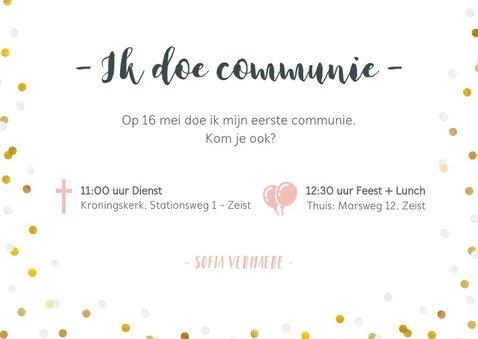 Communie fotocollage kaart meisje met goudlook confetti 3