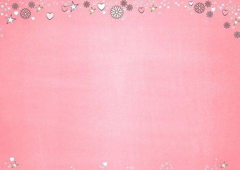 Communie roze fotokaart met bloemen hartjes en sterren 2