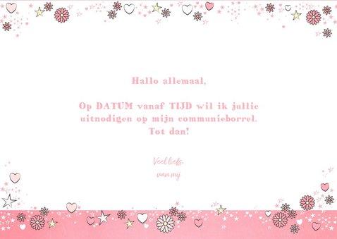 Communie roze fotokaart met bloemen hartjes en sterren 3