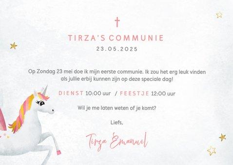 Communie uitnodiging eenhoorn met regenboog waterverf 3