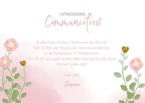 Communie uitnodiging foto waterverf bloemen en hartjes 3