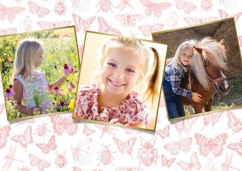 Communie uitnodiging roze voor meisjes met lente dieren 2