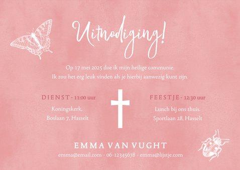 Communie uitnodiging roze voor meisjes met lente dieren 3