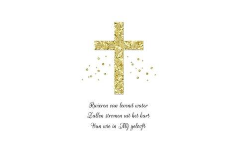 Communie uitnodiging stijlvol kruis goud waterverf takje 2
