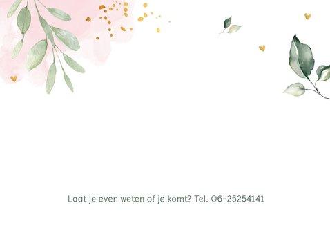Communiekaart waterverf roze bladeren goudlook 2