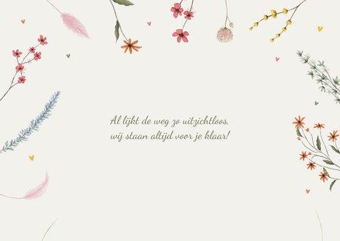 Condoleance sterkte kaart stijlvol bloemen droogbloemen typo 2