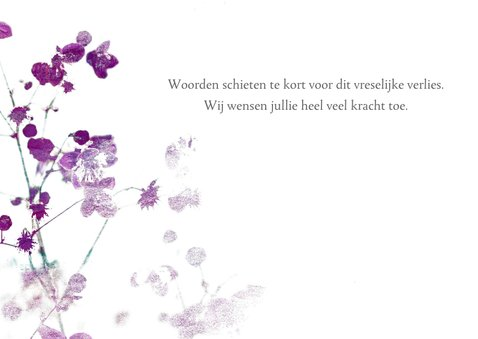 Condoleancekaart met paarse bloesem 3