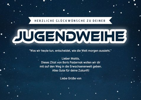 Coole Glückwunschkarte Jugendweihe 'The future is yours' 3