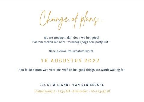 Corona wijzigingskaart trouwdatum - change of plans 3
