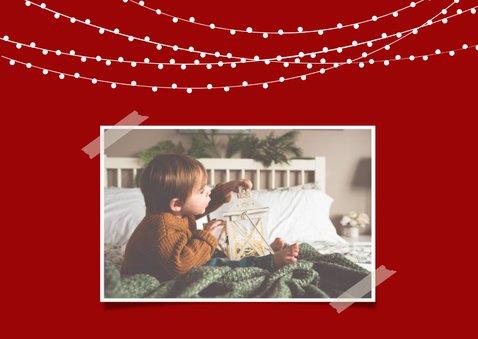 Cozy kerstkaart met foto en illustratie 2