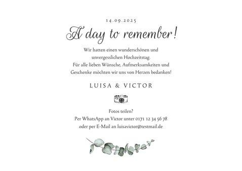 Dankeschönkarte Hochzeit Fotos, Marmor & Botanik 3