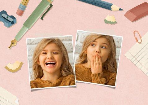 Dankeskarte Einschulung rosa Fotos, Schere & Papier 2