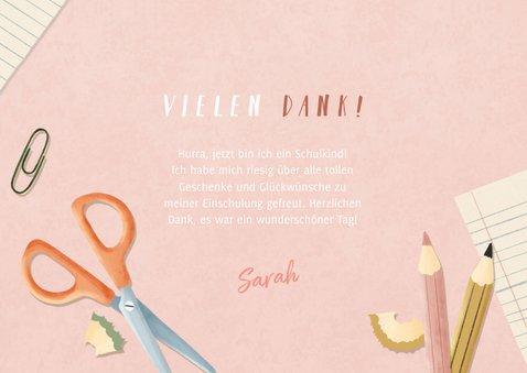 Dankeskarte Einschulung rosa Fotos, Schere & Papier 3