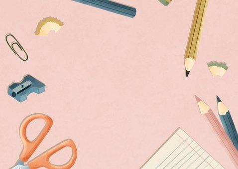 Dankeskarte Einschulung rosa Fotos, Schere & Papier Rückseite