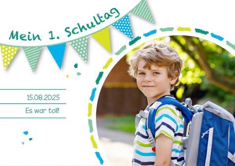 Dankeskarte Einschulung Schultafel grünblau und Foto 2