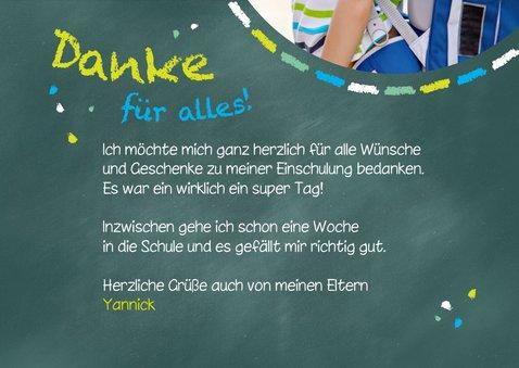 Dankeskarte Einschulung Schultafel grünblau und Foto 3