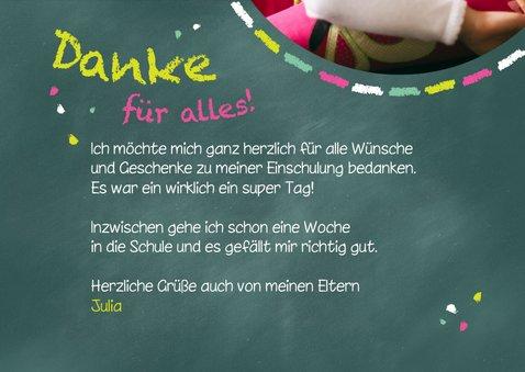Dankeskarte Einschulung Schultafel grünrosa und Foto 3