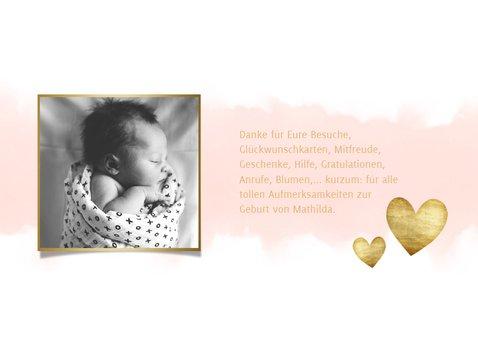 Dankeskarte Geburt hip Foto & Aquarell rosa 3