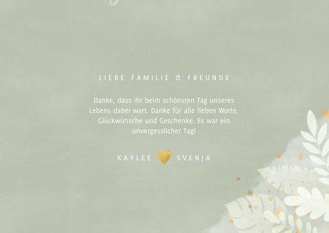 Dankeskarte Hochzeit Fotocollage botanisch Dschungelblätter 3