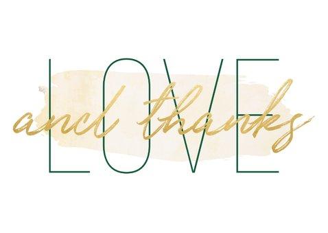 Dankeskarte Hochzeit mit Foto 'Love and thanks' im Goldlook 2
