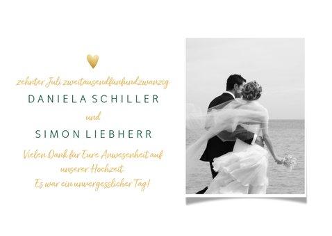 Dankeskarte Hochzeit mit Foto 'Love and thanks' im Goldlook 3