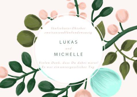 Dankeskarte Hochzeit mit Foto und eleganten Blumenzweigen 2